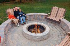 Backyard Patio With Stone Firepit 18