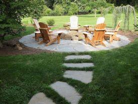 Backyard Patio With Stone Firepit 19
