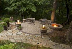 Backyard Patio With Stone Firepit 21