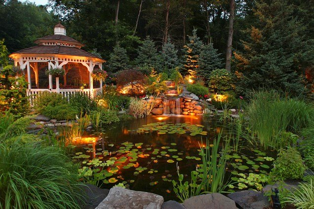 Water Garden and Koi Pond Designs for the Backyard and Patio on Backyard Pond Landscaping Ideas id=58893