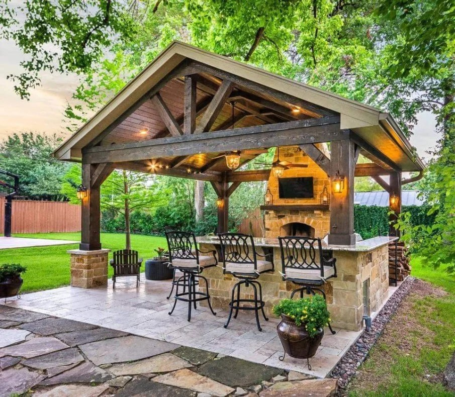 40 Best Patio Designs with Pergola and Fireplace - Covered ... on Covered Outdoor Kitchen With Fireplace id=48722