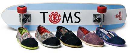 TOMS Shoes Element Skateboard