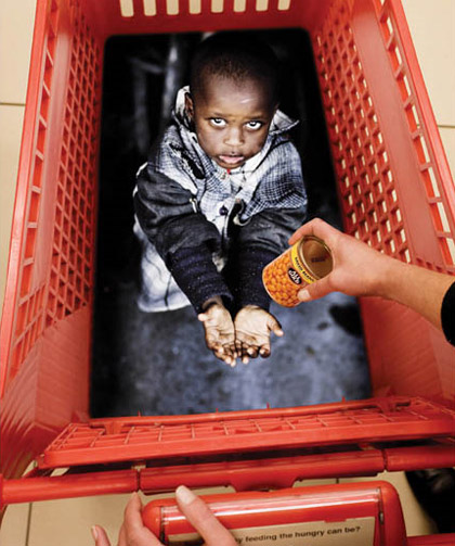 Starving Child Shopping Basket Marketing Ad
