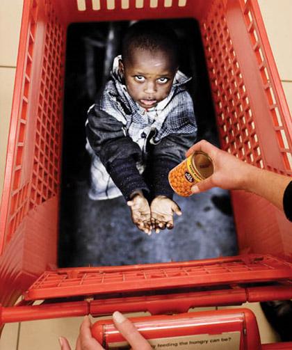 Starving Child Shopping Basket Marketing Ad