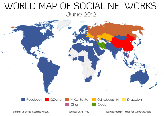 World Map of  Social Networks 2012