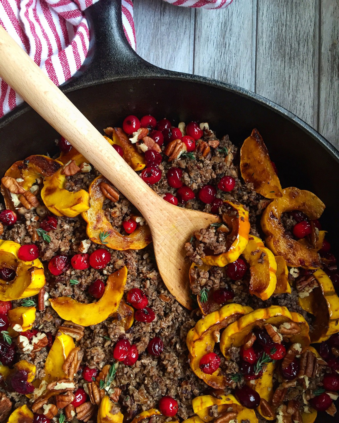 Duck Bacon Winter Hash (bacon, mushrooms, cranberries, squash, pecans, herbs!) #seasonal #paleo #bacon #DArtagnanFeast | Fresh Planet Flavor
