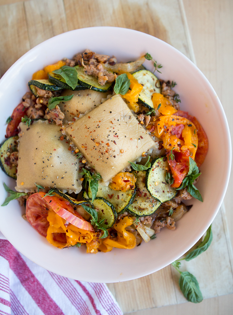 These Date Night Spicy Sausage Stuffed Ravioli are too delicious for words! Paired with fresh seasonal vegetables and flavorful herbs...   Fresh Planet Flavor