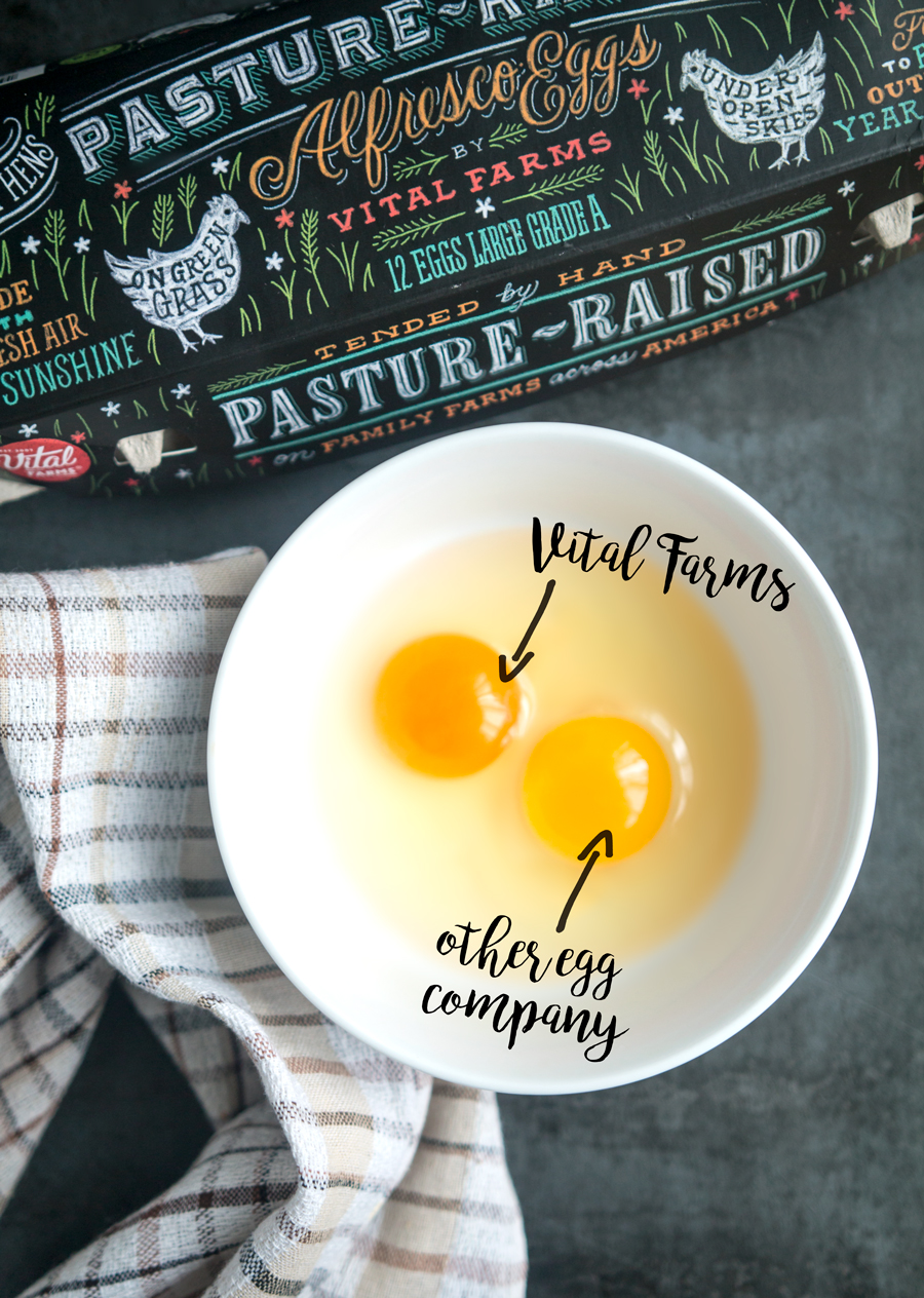 Comparison of egg yolk between Vital Farms and another pastured egg brand. Such a difference in color!
