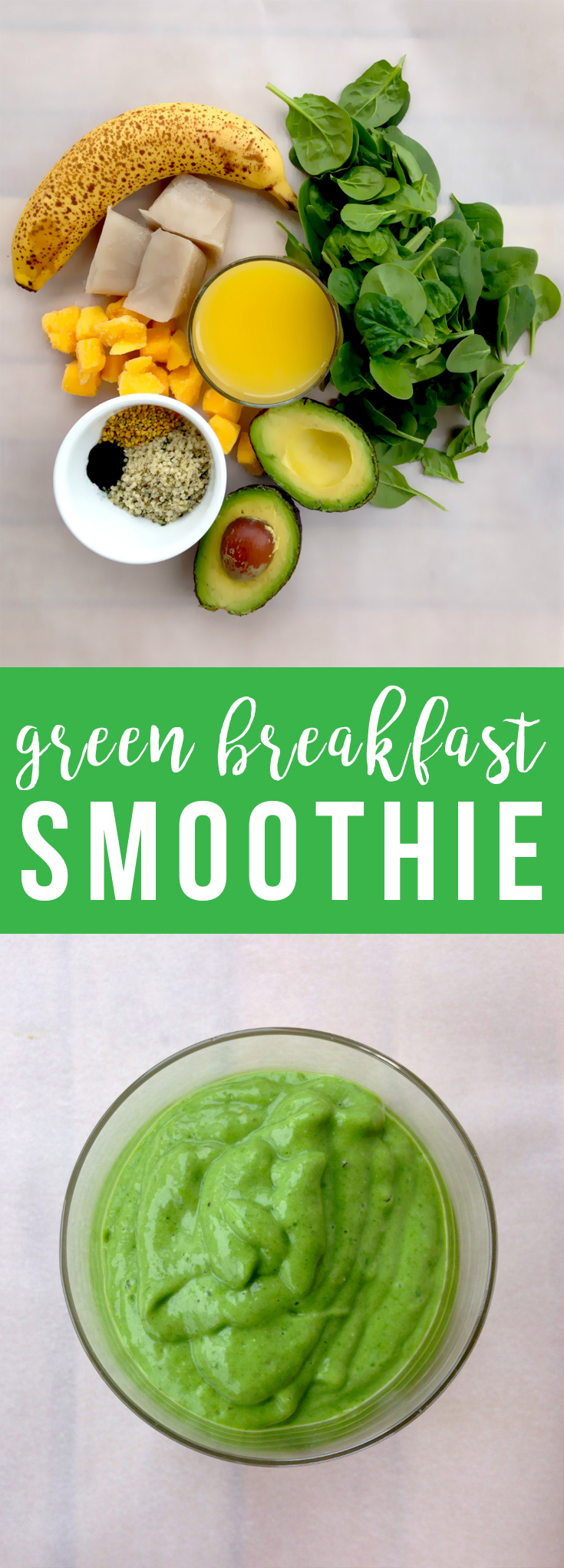 This creamy, frosty green breakfast smoothie with a hint of sweetness is packed with nutrition for a refreshing start to your day.