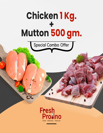 Combo Pack of fresh Chicken 1 Kg | Mutton 1/2 Kg