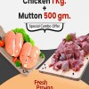Combo Pack of fresh Chicken 1 Kg   Mutton 1/2 Kg