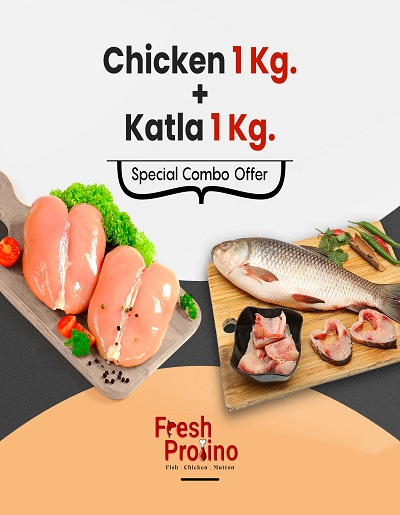 Combo Pack of fresh Chicken 1Kg with Katla Fish 1Kg