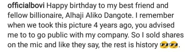 Bovi To Dangote : Happy Birthday To My Fellow Billionaire