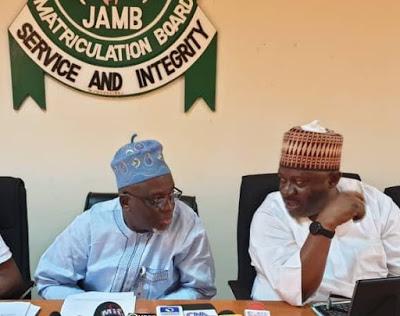 JAMB Registrar Prof Ishaq Oloyede and Director of Test Administration Dr Yusuf Lawal at JAMB Press Conference