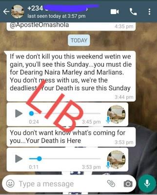 'Marlians Are After My Life' - Apostle Omashola Claims, Share Screenshots