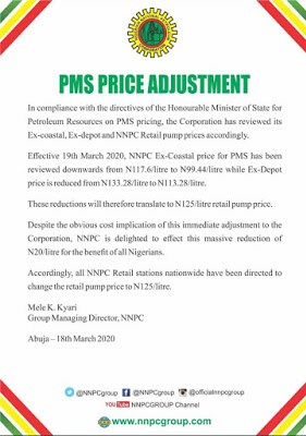 BREAKING: FG Cuts Fuel Price To N125