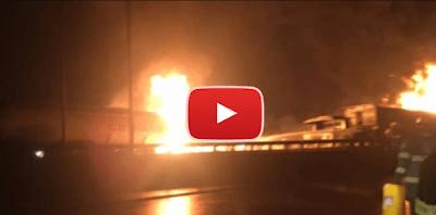 VIDEO: Petrol Tanker Goes Up In Flames On Kara Bridge In Lagos