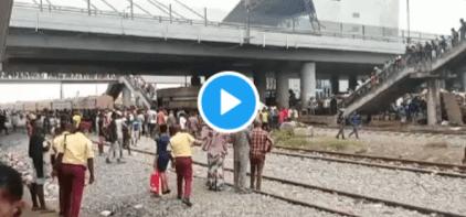 Moving Train Crushes Bus In Oshodi, Lagos