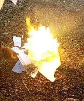 [Photos] Graduate Burns All His Certificates After Failing To Secure A Job