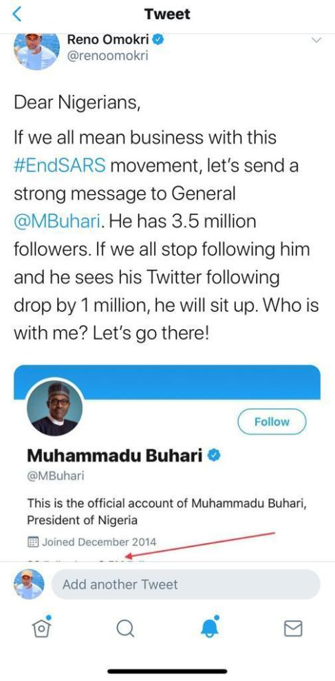 Buhari Loses 100K Followers On Twitter As Reno Omokri Starts #unfollowbuhari