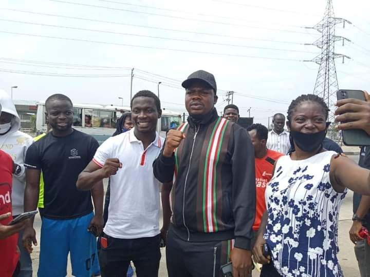 PHOTO NEWS: Comedian Mr Macaroni Joins Protesters in Ojota, Lagos State