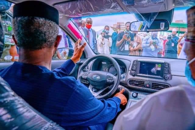 Photo News): See Photos Of VP Osinbajo Test-driving Nigerian Assemble Car