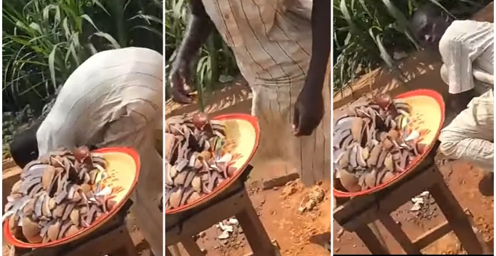 WATCH VIDEO: Coconut Seller Caught Using Water In Gutter To Wash His Coconut