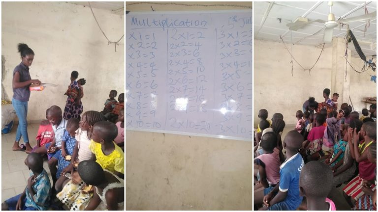 Young Lady Won The Hearts Of Many By Teaching Children At IDP Camp For Free (Photos)