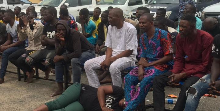 See Photos As Police Parade Yoruba Nation Protesters Arrested In Lagos