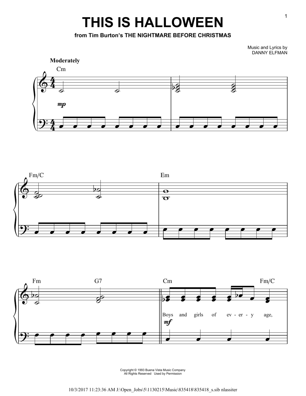 This Is Halloween Piano Tabs Easy | Cartooncreative.co
