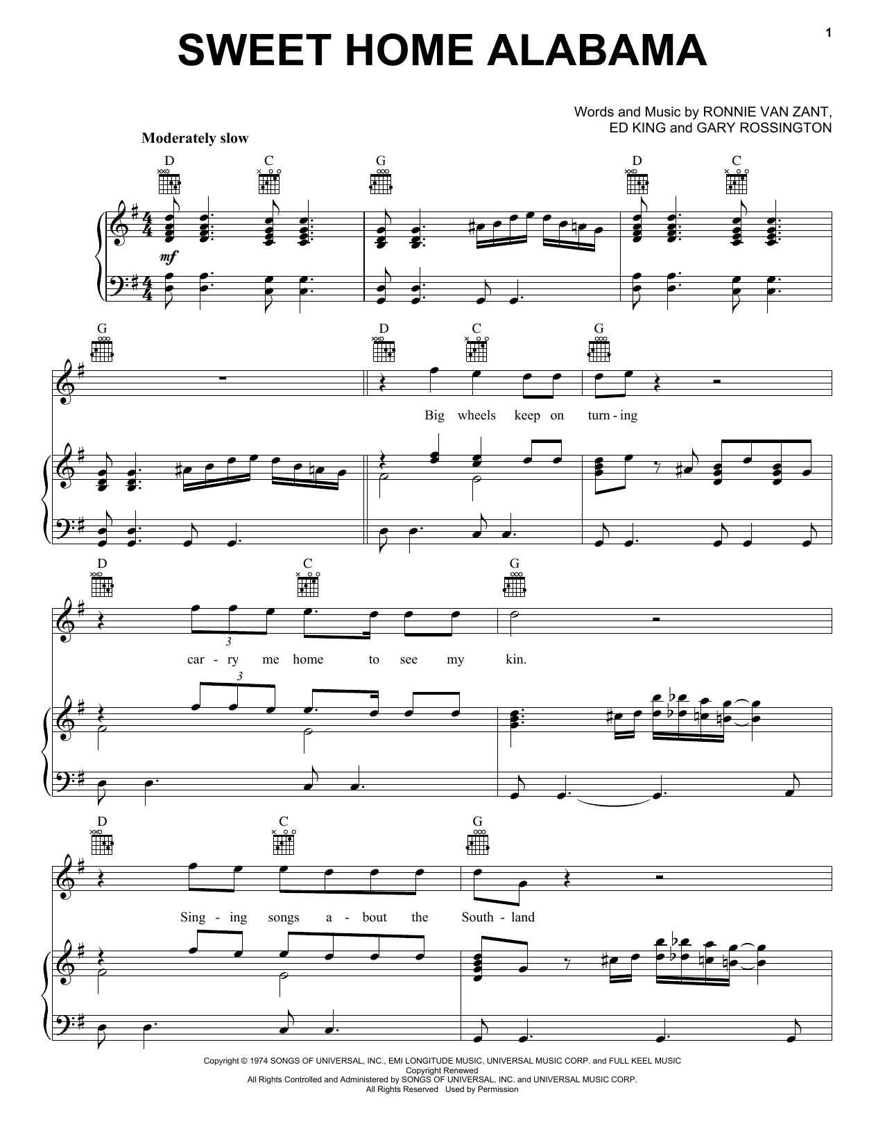 We have an official sweet home alabama tab made by ug professional guitarists. Lynyrd Skynyrd Sweet Home Alabama Sheet Music Pdf Notes Chords Rock Score Ukulele With Strumming Patterns Download Printable Sku 108914