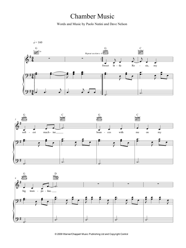 """Paolo Nutini """"Chamber Music"""" Sheet Music PDF Notes, Chords  Pop"""