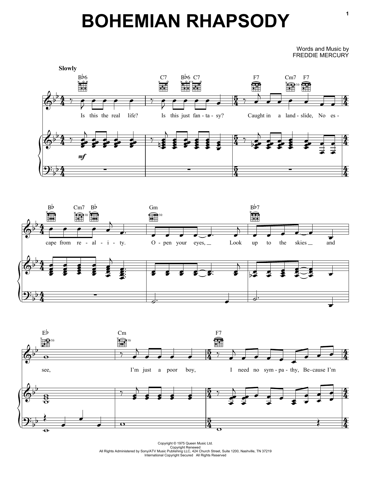 Queen Bohemian Rhapsody Sheet Music Notes Chords