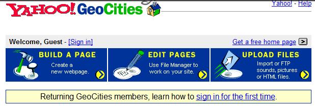 Screenshot of Yahoo Geocities from 1999