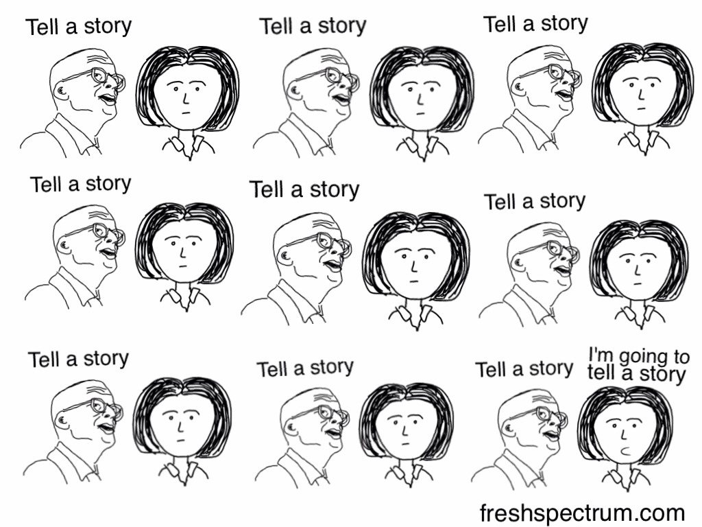 Seth Godin Tell a story tell a story tell a story I'm going to tell a story
