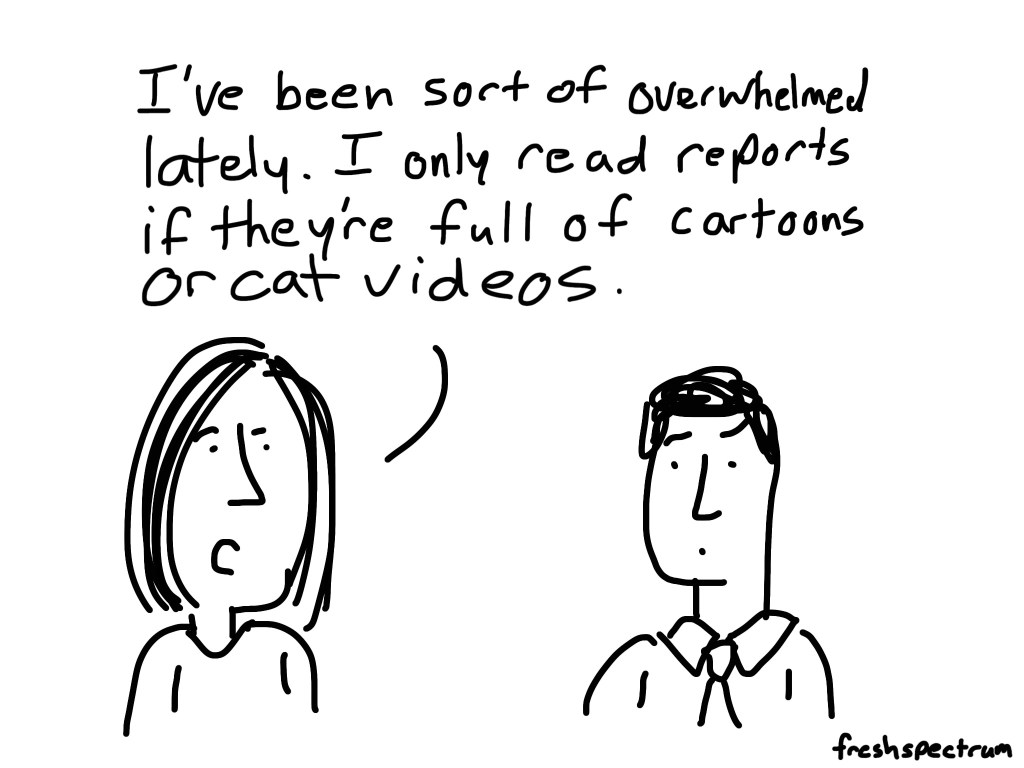 Overwhelmed so only cat videos cartoon by Chris Lysy