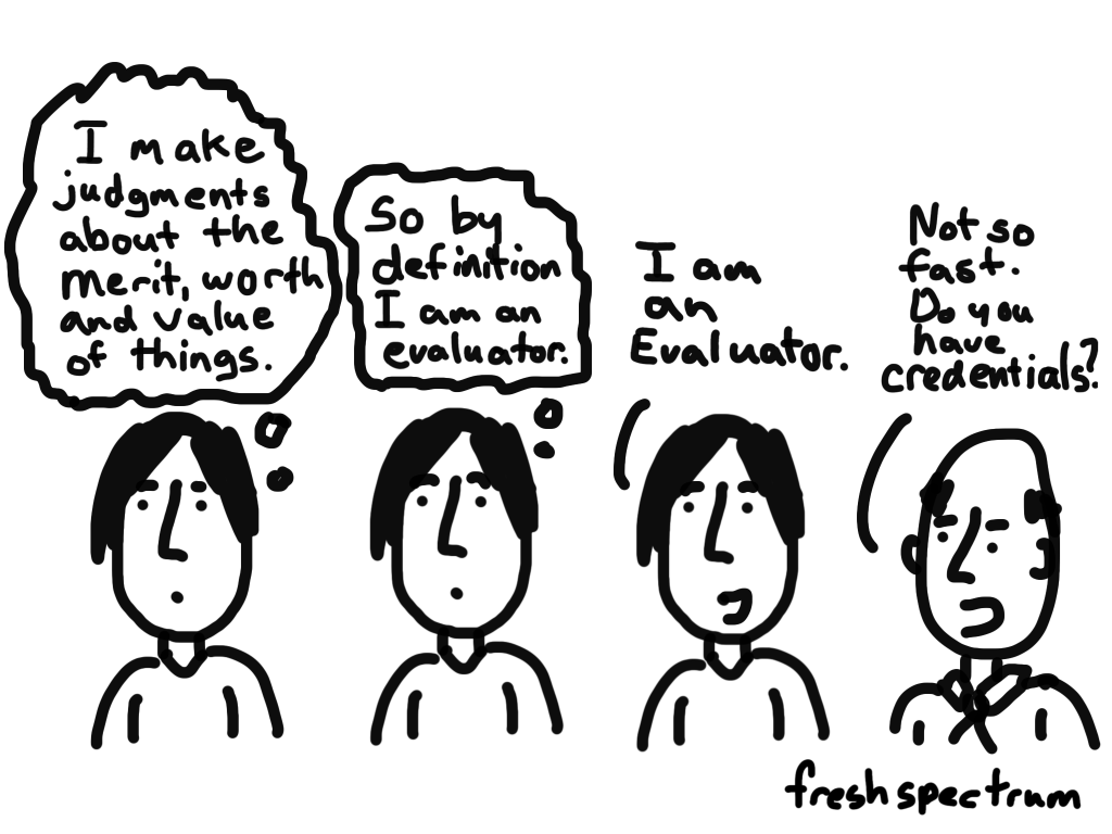 Cartoon-I make judgements about the merit, worth and value of things...So by definition I am an evaluator...I am an evaluator...Not so fast, do you have credentials?