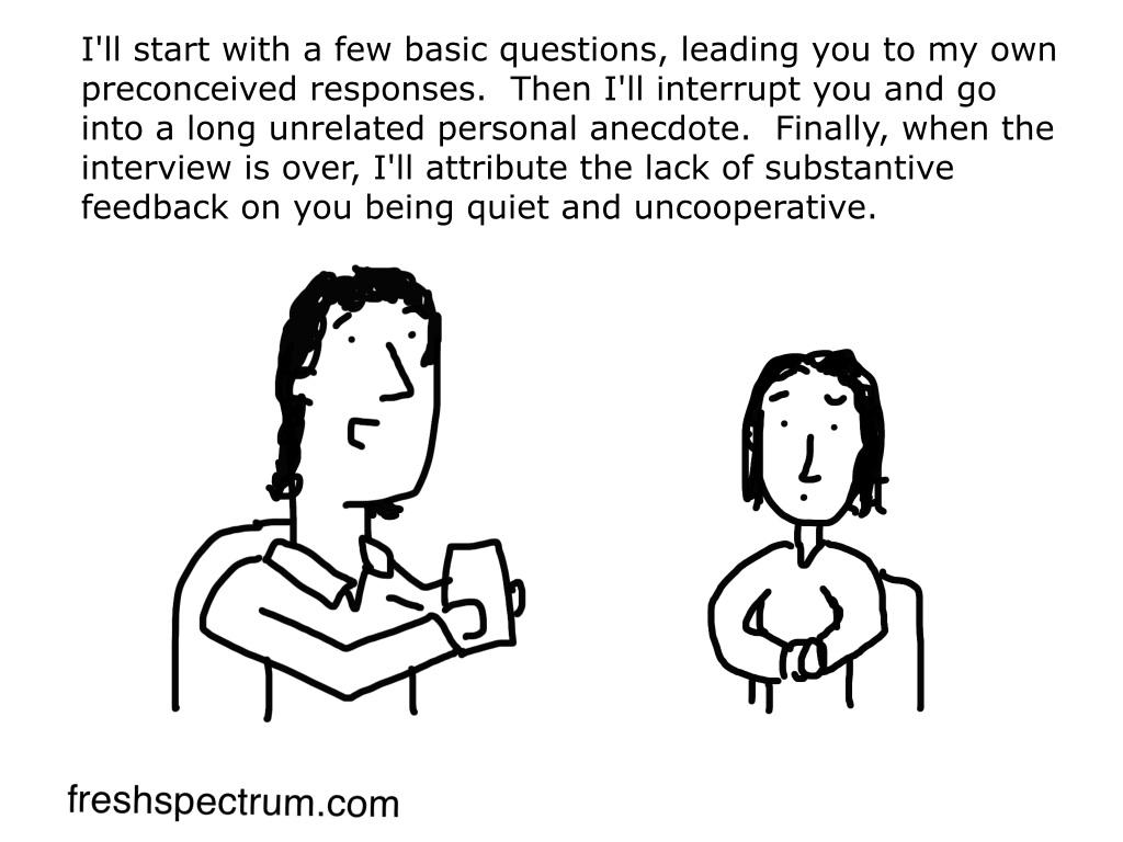 Freshspectrum cartoon showing a qualitative interviewer controlling an interview.