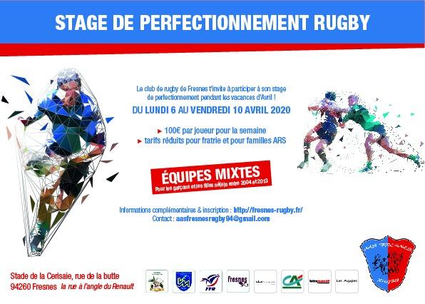 stage de perfectionnement rugby : ouvert aux joueurs d'autres clubs