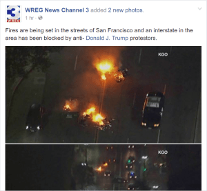 Social media screen shot of Oakland riot.