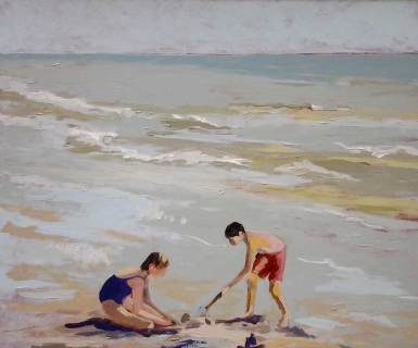 Tableau Claire Fresson : Deux enfants dans les vagues