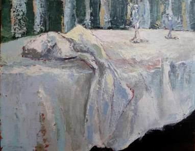 Tableau C. Fresson Serviette abandonnée sur une table