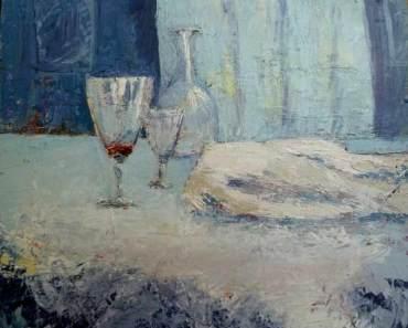 Verres et une carafe - Tableau Claire Fresson