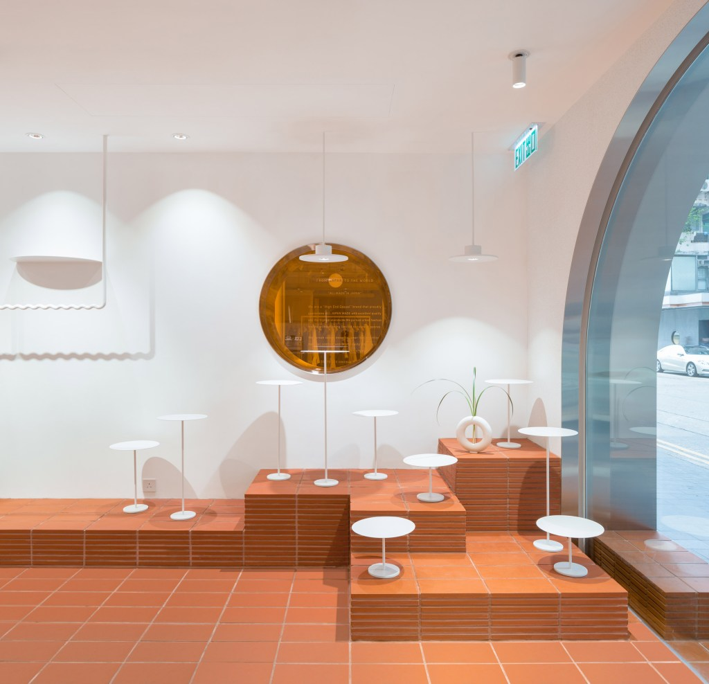 orange tiles and white table