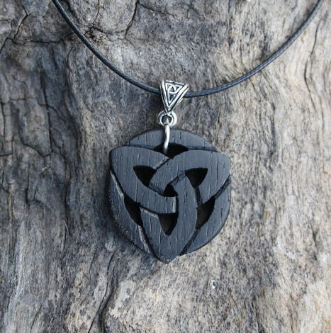 Irish bog oak triquetra necklace fretmajic irish bog oak triquetra necklace mozeypictures