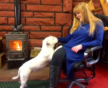 Pearls and Julie with red squirrel stove