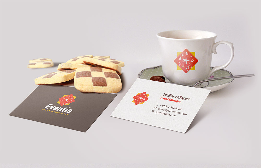 Free Business Card And Coffee Cup Scene Mockup - Freebies - Fribly