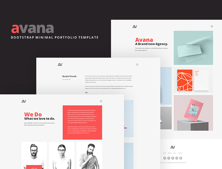 Avana - Minimal Portfolio Template Built With Bootstrap - Freebies