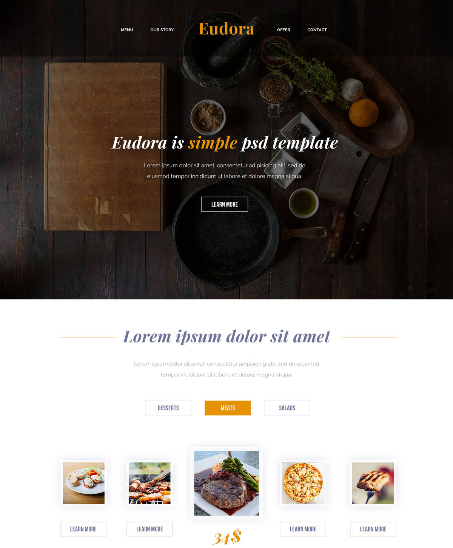 Eudora Free Html Template For Restaurant Food Websites Freebies