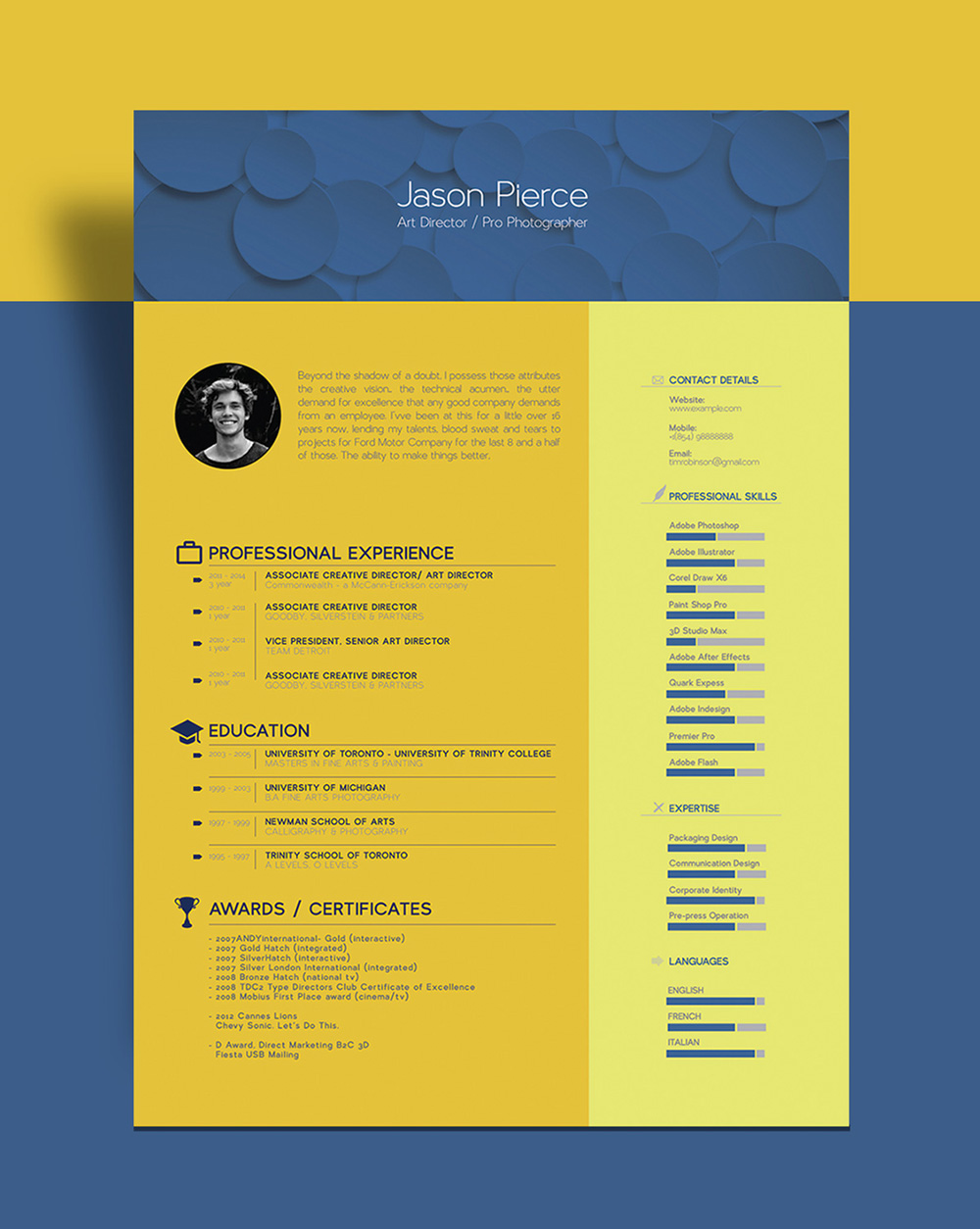 free beautiful resume  cv  template for graphic designer    art director -